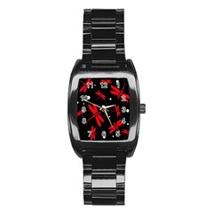 Red, black and white dragonflies Stainless Steel Barrel Watch
