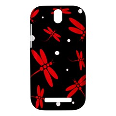 Red, black and white dragonflies HTC One SV Hardshell Case