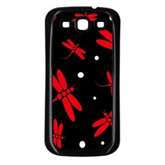 Red, black and white dragonflies Samsung Galaxy S3 Back Case (Black)