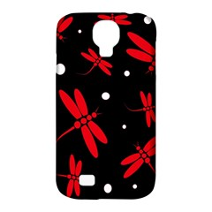 Red, black and white dragonflies Samsung Galaxy S4 Classic Hardshell Case (PC+Silicone)