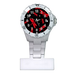 Red, black and white dragonflies Plastic Nurses Watch