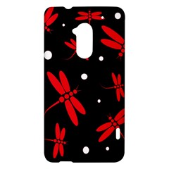 Red, black and white dragonflies HTC One Max (T6) Hardshell Case