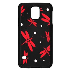 Red, black and white dragonflies Samsung Galaxy S5 Case (Black)