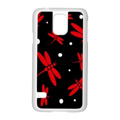 Red, black and white dragonflies Samsung Galaxy S5 Case (White)