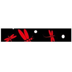 Red, black and white dragonflies Flano Scarf (Large)