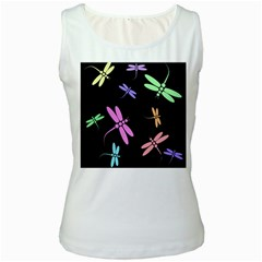 Pastel dragonflies Women s White Tank Top