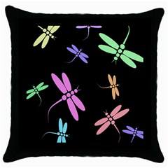 Pastel dragonflies Throw Pillow Case (Black)