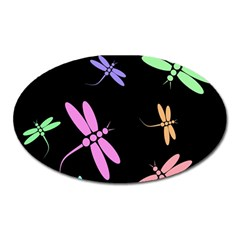 Pastel dragonflies Oval Magnet