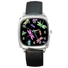 Pastel dragonflies Square Metal Watch