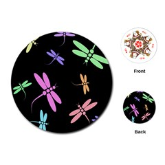 Pastel dragonflies Playing Cards (Round)