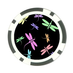 Pastel dragonflies Poker Chip Card Guards