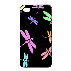 Pastel dragonflies Apple iPhone 4/4s Seamless Case (Black)