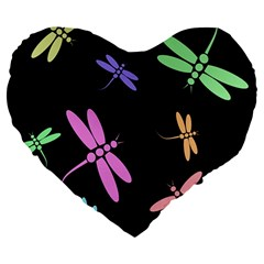 Pastel dragonflies Large 19  Premium Heart Shape Cushions