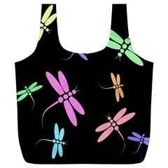 Pastel dragonflies Full Print Recycle Bags (L)