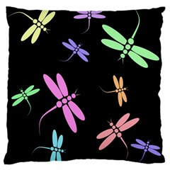 Pastel dragonflies Standard Flano Cushion Case (Two Sides)