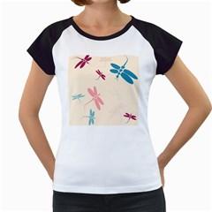 Pastel dragonflies  Women s Cap Sleeve T