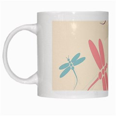Pastel Dragonflies  White Mugs