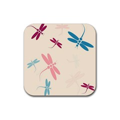 Pastel dragonflies  Rubber Coaster (Square)