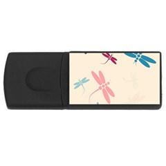 Pastel dragonflies  USB Flash Drive Rectangular (1 GB)