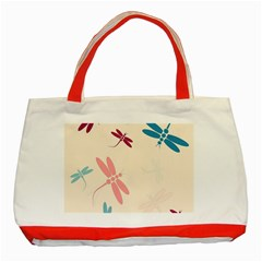 Pastel dragonflies  Classic Tote Bag (Red)