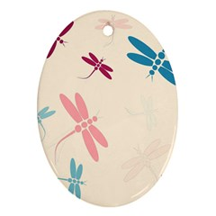 Pastel dragonflies  Oval Ornament (Two Sides)