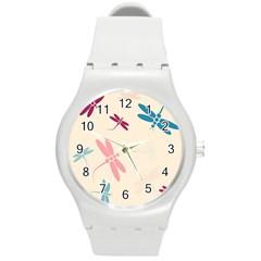 Pastel dragonflies  Round Plastic Sport Watch (M)