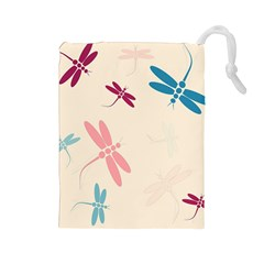 Pastel dragonflies  Drawstring Pouches (Large)