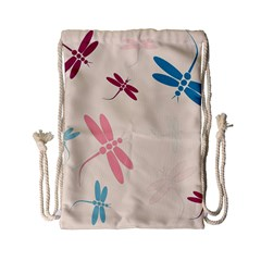 Pastel dragonflies  Drawstring Bag (Small)