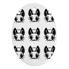 Black and white fireflies patten Ornament (Oval)
