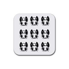 Black and white fireflies patten Rubber Coaster (Square)