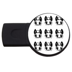 Black and white fireflies patten USB Flash Drive Round (4 GB)
