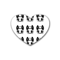 Black and white fireflies patten Rubber Coaster (Heart)