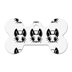 Black and white fireflies patten Dog Tag Bone (Two Sides)