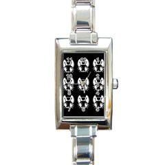 White and black fireflies  Rectangle Italian Charm Watch
