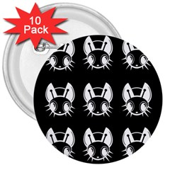 White and black fireflies  3  Buttons (10 pack)
