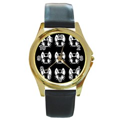 White and black fireflies  Round Gold Metal Watch