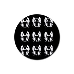 White and black fireflies  Rubber Coaster (Round)