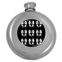 White and black fireflies  Round Hip Flask (5 oz)