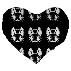 White and black fireflies  Large 19  Premium Heart Shape Cushions