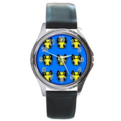 Yellow and blue firefies Round Metal Watch