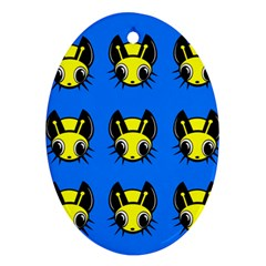 Yellow and blue firefies Ornament (Oval)