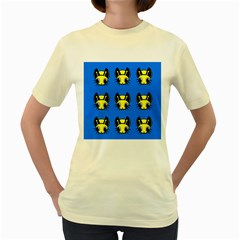 Yellow and blue firefies Women s Yellow T-Shirt