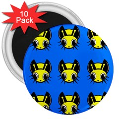 Yellow and blue firefies 3  Magnets (10 pack)