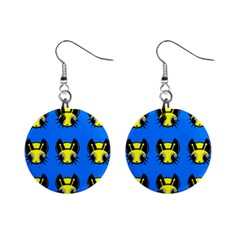 Yellow and blue firefies Mini Button Earrings