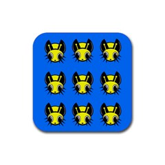 Yellow and blue firefies Rubber Coaster (Square)