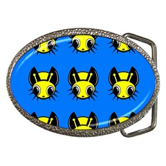 Yellow and blue firefies Belt Buckles