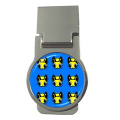 Yellow and blue firefies Money Clips (Round)