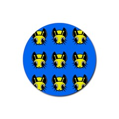 Yellow and blue firefies Rubber Coaster (Round)