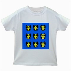 Yellow and blue firefies Kids White T-Shirts