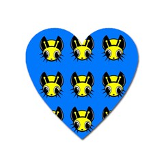 Yellow and blue firefies Heart Magnet